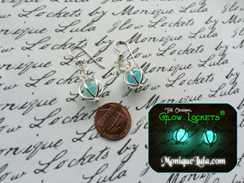 Glowing Orb Earrings for Frozen Galaxy Heart with Free UV Charger Light