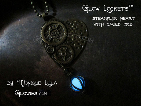Steampunk Heart Bronze Pendant with Glow in the Dark Orb