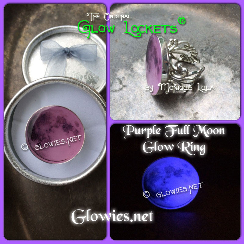 Violet Full Moon Purple Glow Victorian Ring