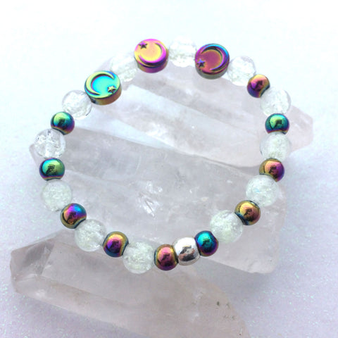 Moon and Star Rainbow Hematite Galaxy Beaded Bracelet
