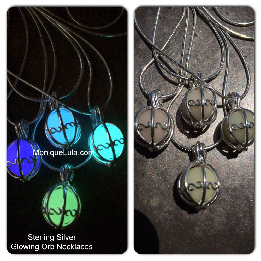 Sterling Silver Glowing Orb Necklaces