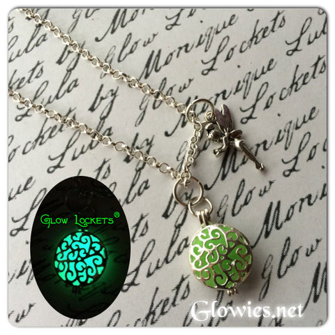Tinkerbell inspired Fairy Glow Locket ® Necklace Green Magic Circle