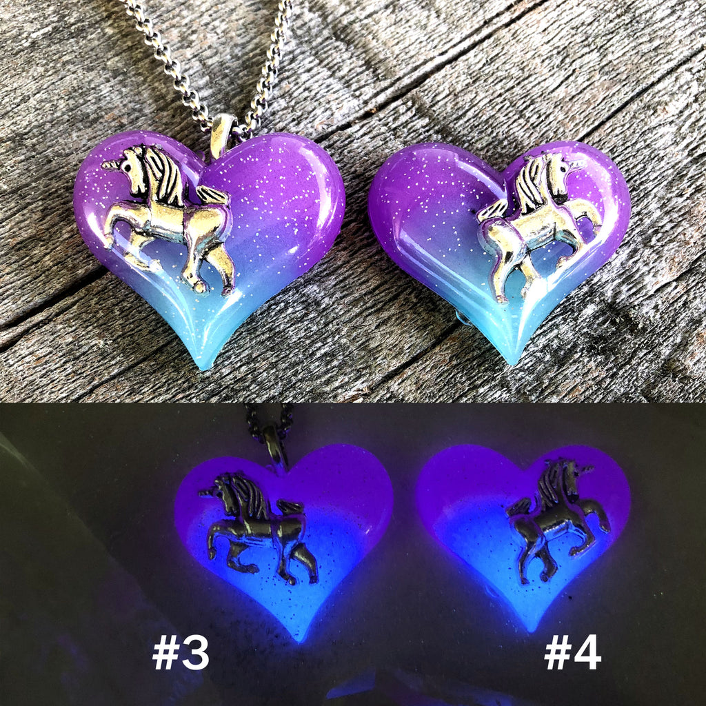 Aurora Borealis Twilight Unicorn glow in the dark Lula Heart Necklace