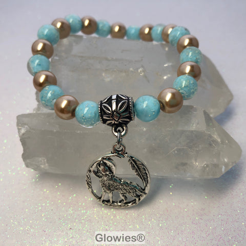 Howling Wolf with Feather Glow Glass Beaded Bracelet