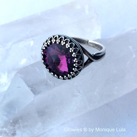 Amethyst Crystal Genuine Swarovski Purple Ring