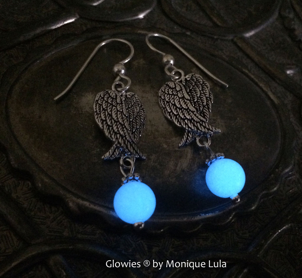 Angel Wings Glow Glass Orb Earrings on Sterling Silver Hooks