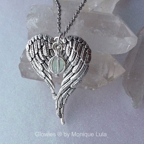 Angel Wings Heart with Glowing Orb Necklace