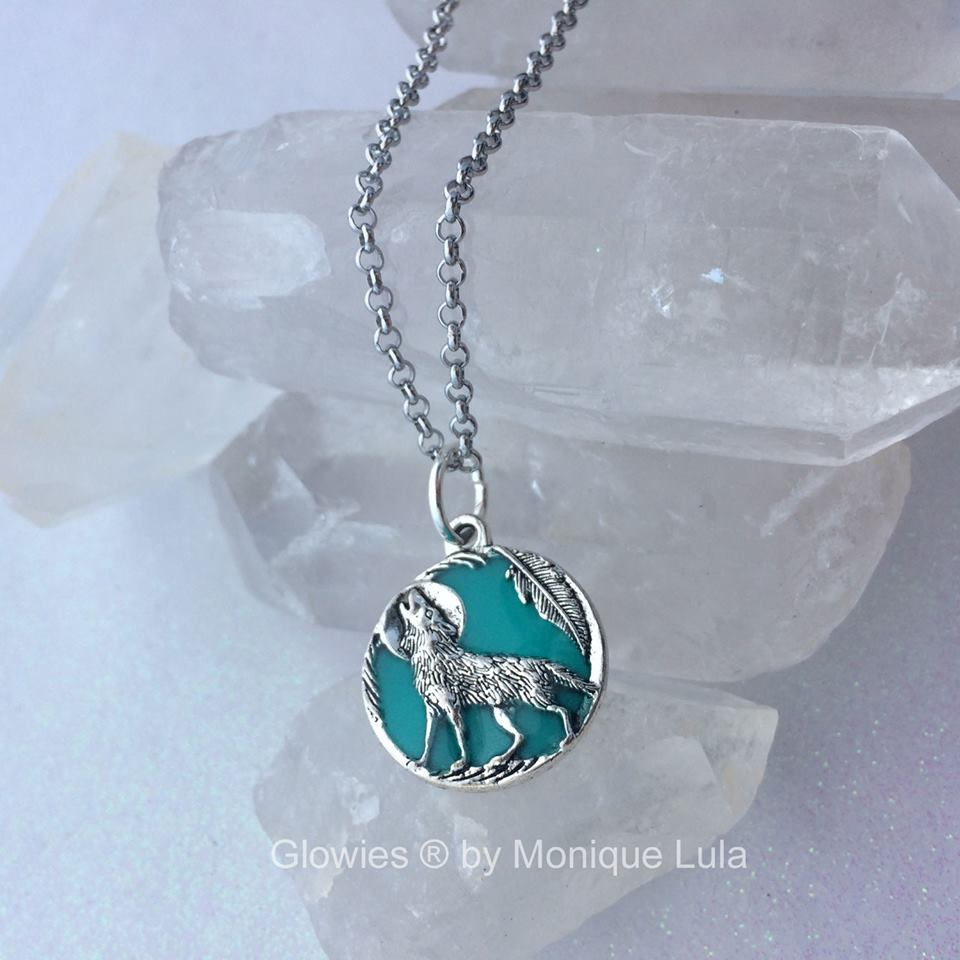 Howling Wolf With Feather Full Moon Glow Necklace