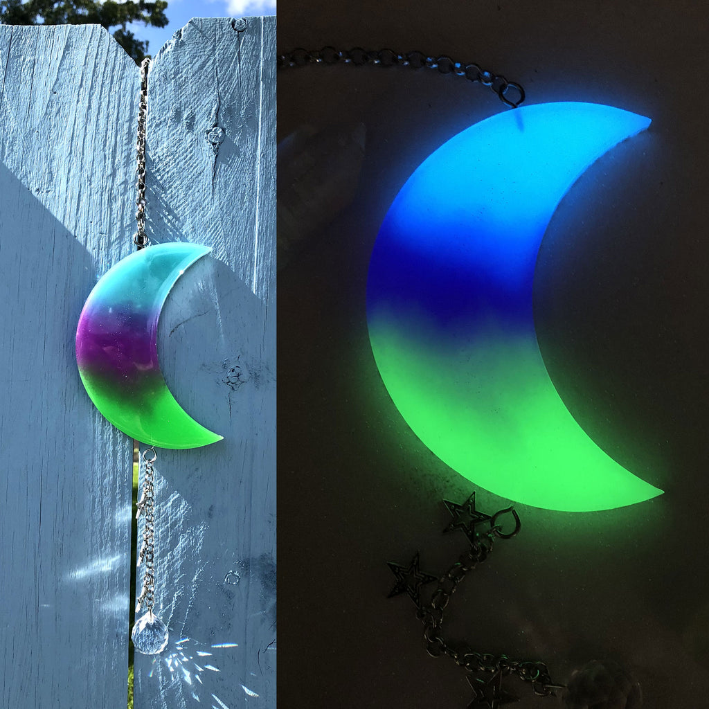 Aurora Borealis Glow in the dark Crescent Moon Sun Catcher with Crystal Ball
