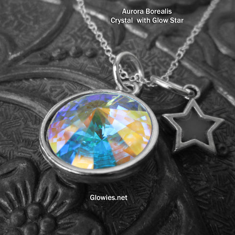 Aurora Borealis Swarovski Crystal Necklace with Glow Star