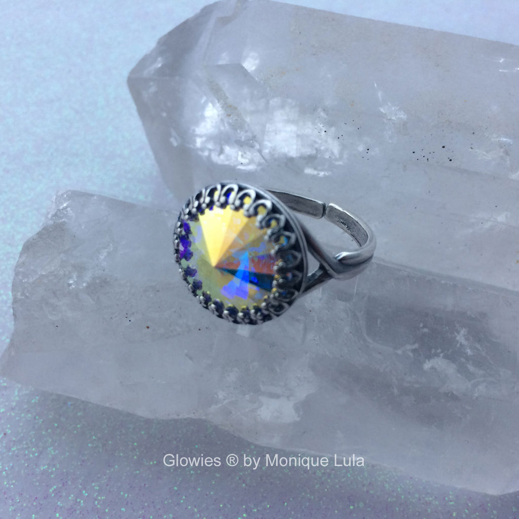 Aurora Borealis Genuine Swarovski Crystal Ring