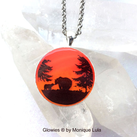 Sunset Bears Glow Art Necklace