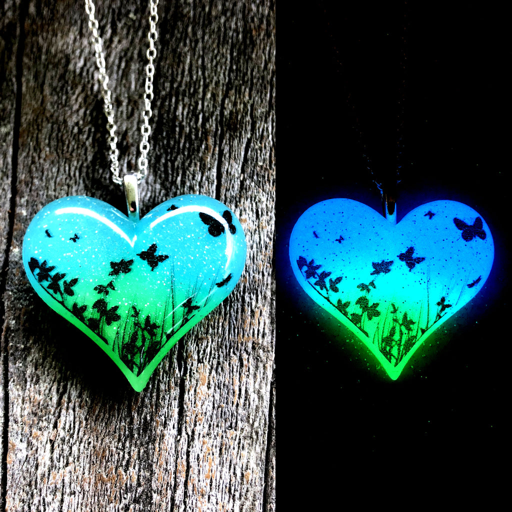 Butterfly Garden glow in the dark Lula Heart Necklace