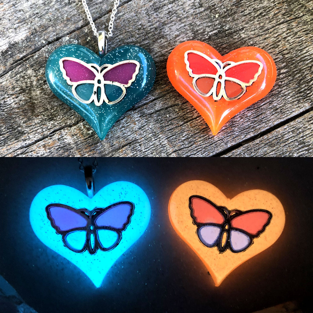Silver Butterfly Glow Wings Inside Lula Heart Necklace