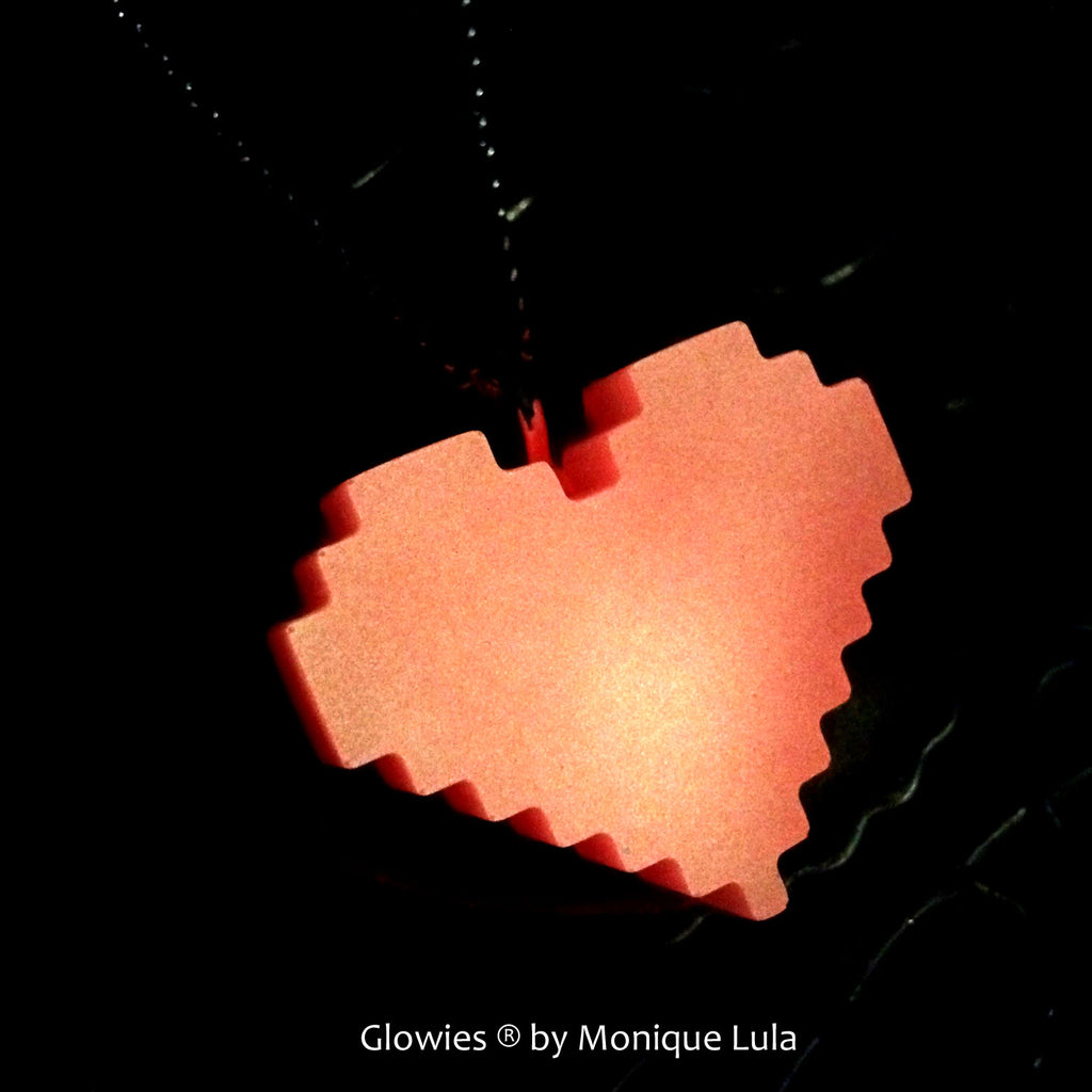 Bit Heart Glowing Gamer Necklace