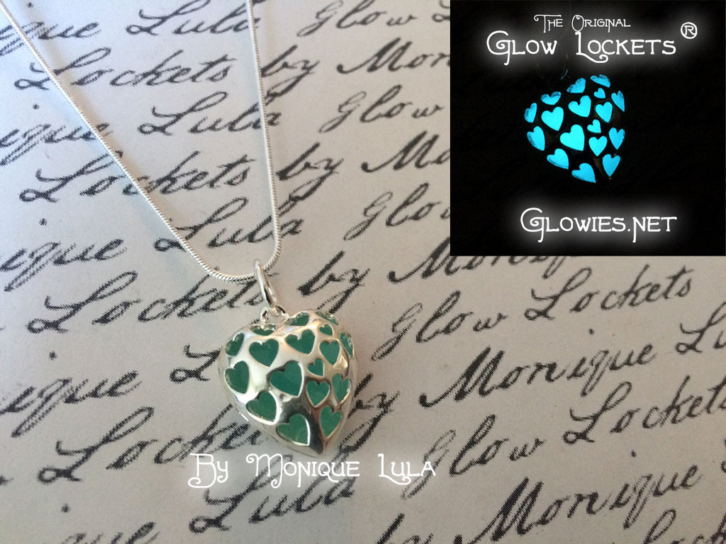 Blue Love Spell Glowing Heart Necklace