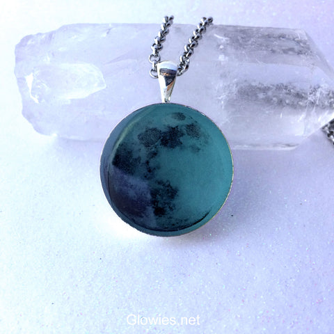 Blue Glowing Moon Necklace with Free UV Charger Light