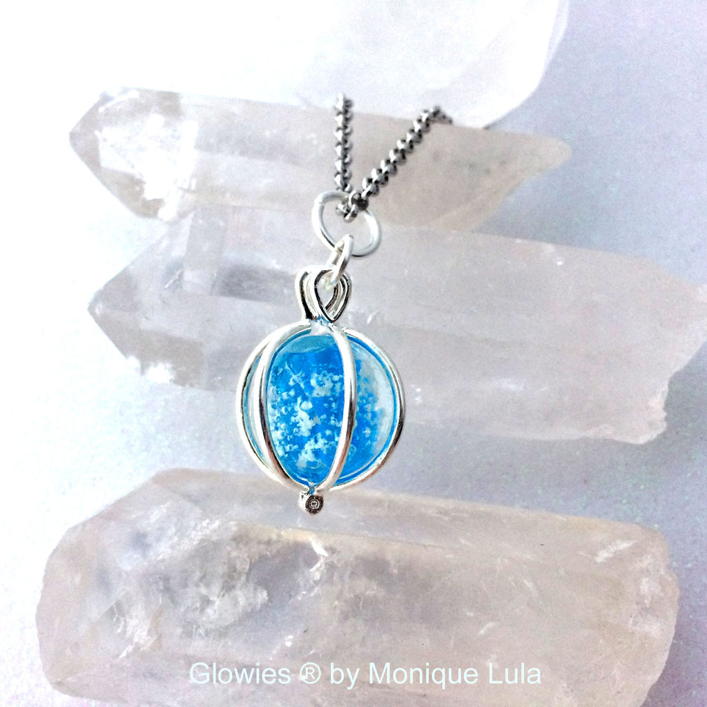 Blue Sky Skies Galaxy Glass Glow Locket ®