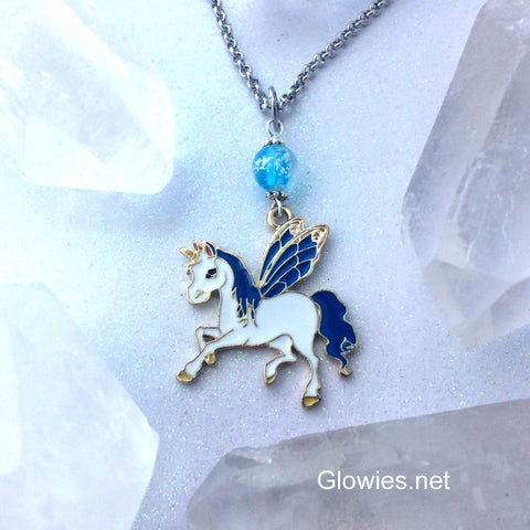 Blue Wing Enamel Unicorn Galaxy Glow Necklace