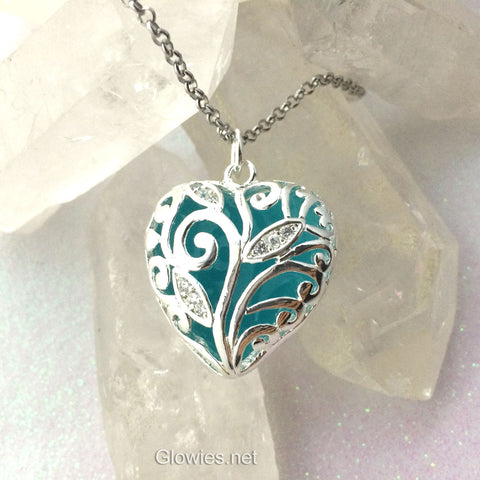 Blue Heart of Winter Frozen Glowing Heart Necklace