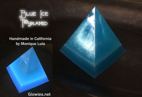 Handmade Blue Ice Glow Pyramid