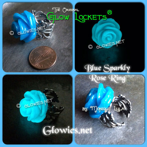 Blue Glowing Rose Ring