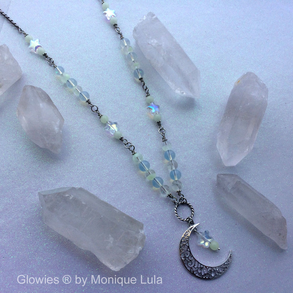 Moon and Star Opal Moonstone Glass Beaded Necklace