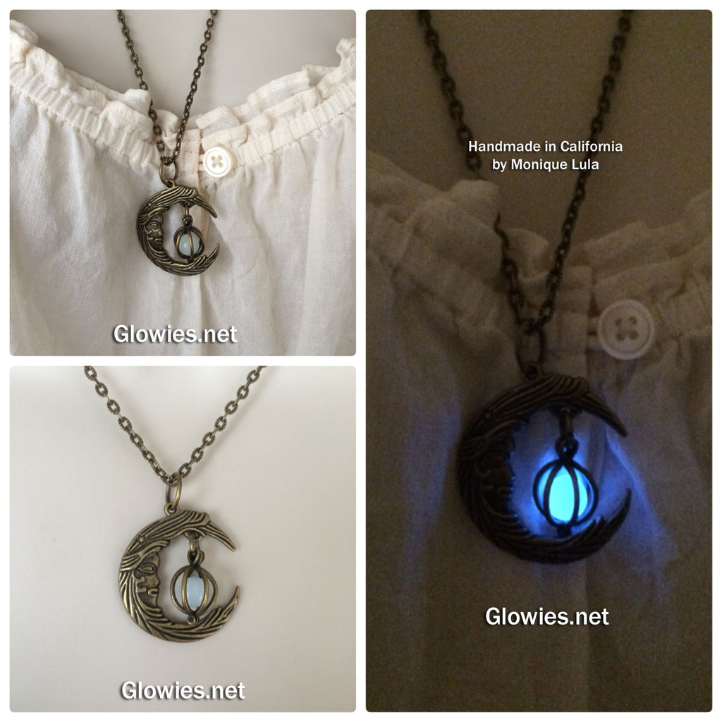 Crescent Moon With Caged Orb Glow Locket Antiqued Brass