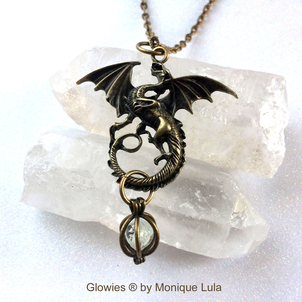 Magic Flying Dragon with Orb Bronze