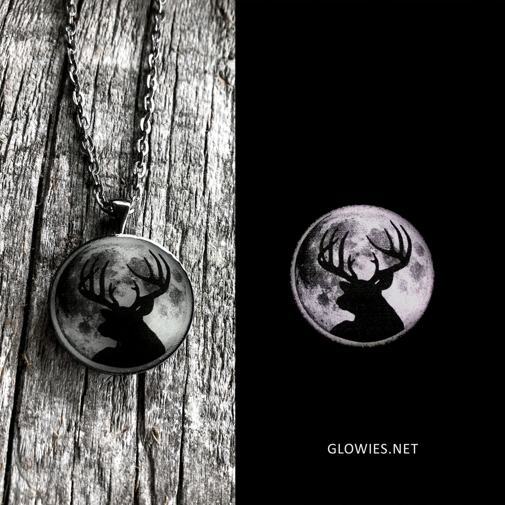 Buck Moon Deer Glow in the dark Art Necklace