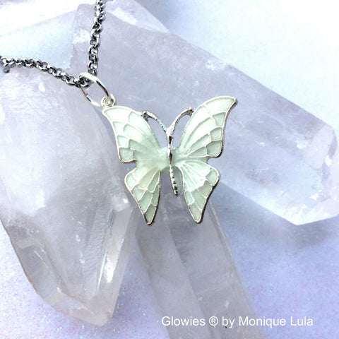 Butterfly With Purple Glowing Wings Necklace