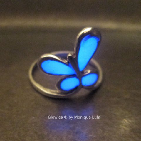 Sterling Silver Glowing Butterfly Ring