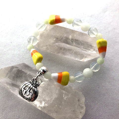 Candy Corn & Glow Glass Bracelet