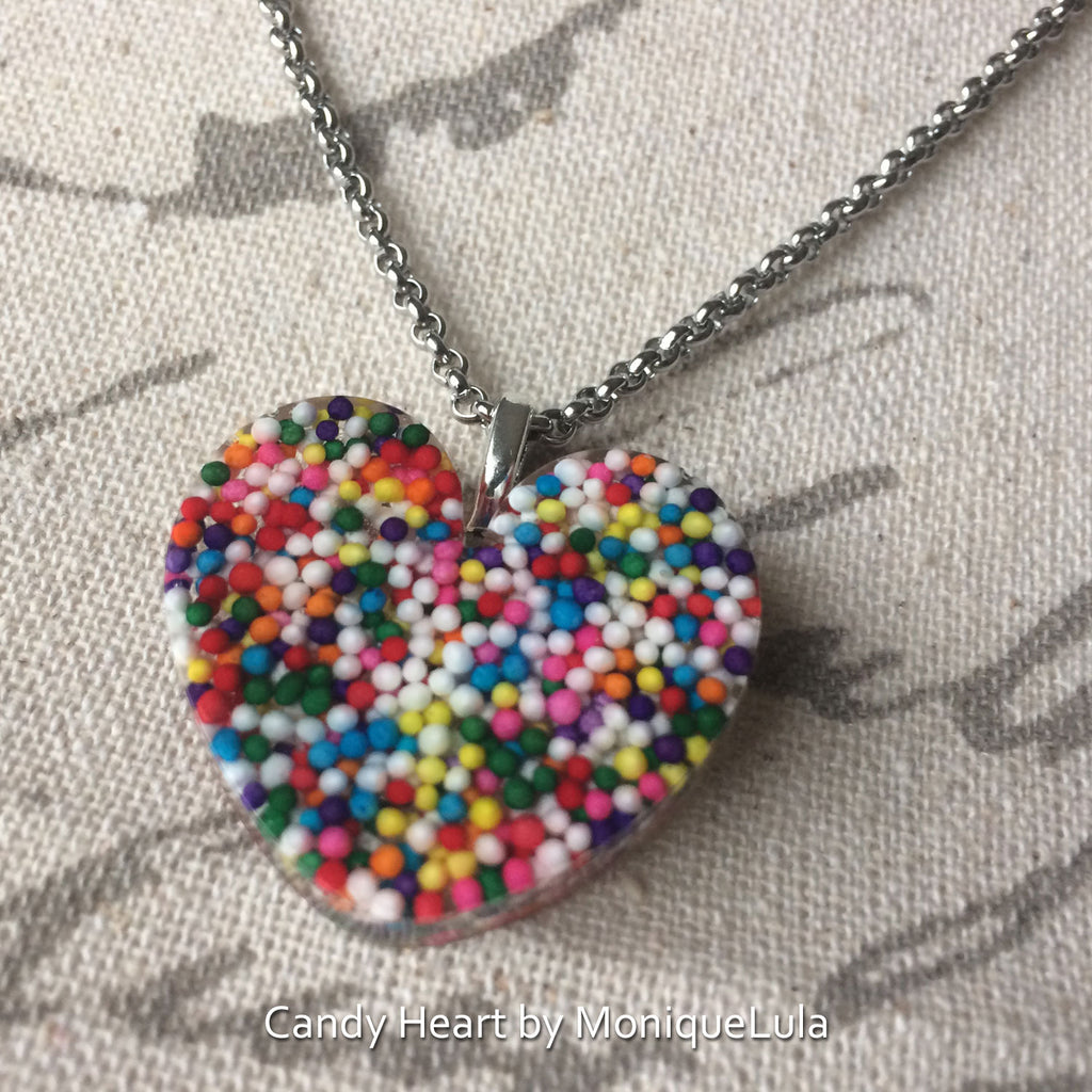 "Real Candy Rainbow Sprinkle Heart 1.25"" Necklace"
