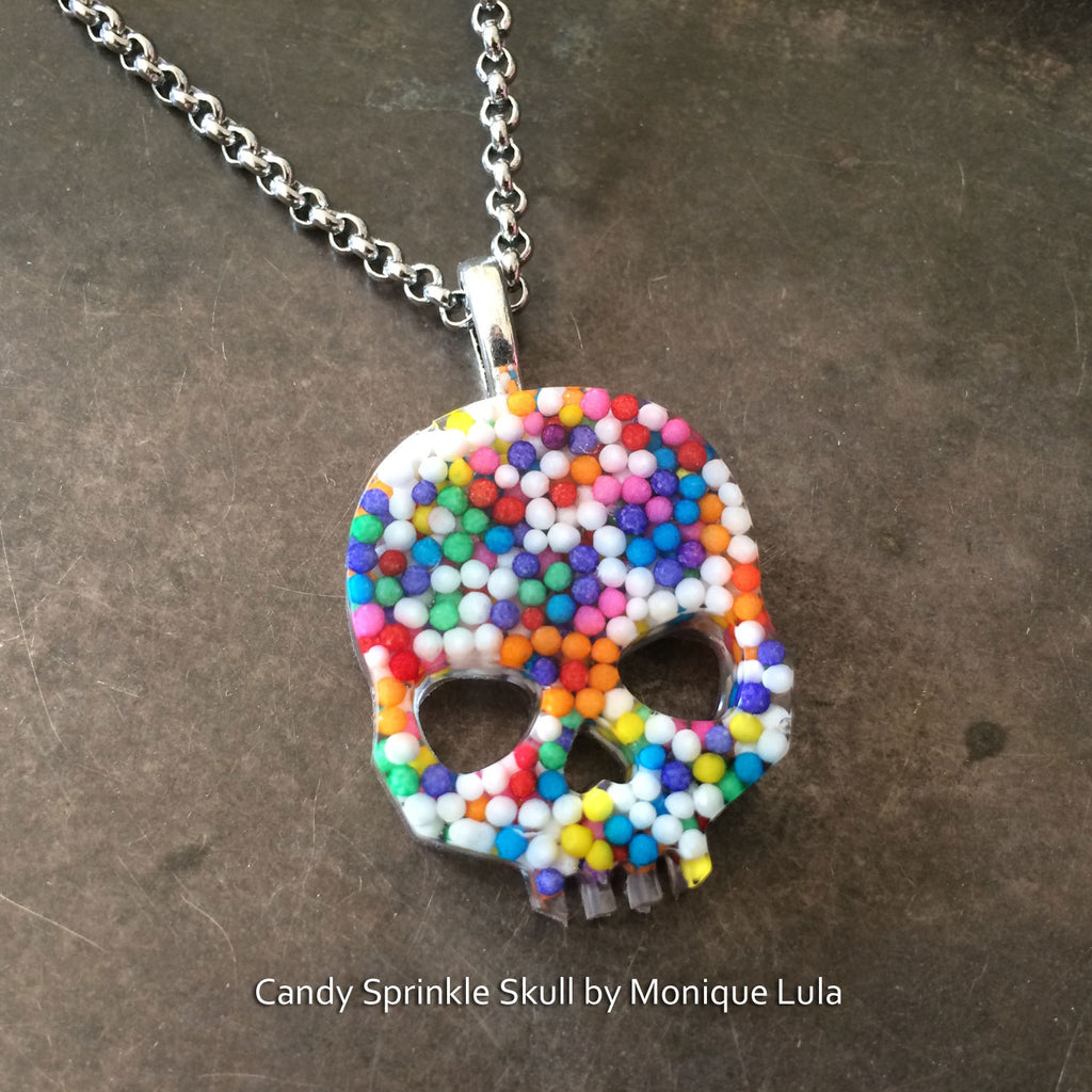 Real Candy Sprinkle Sugar Skull Necklace