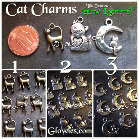 Cat Charms On Moon With Heart