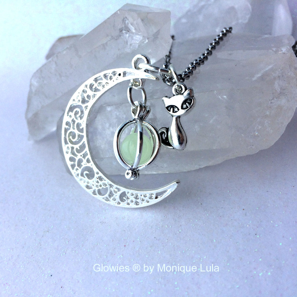 Cat Crescent Moon Glowing Orb Necklace
