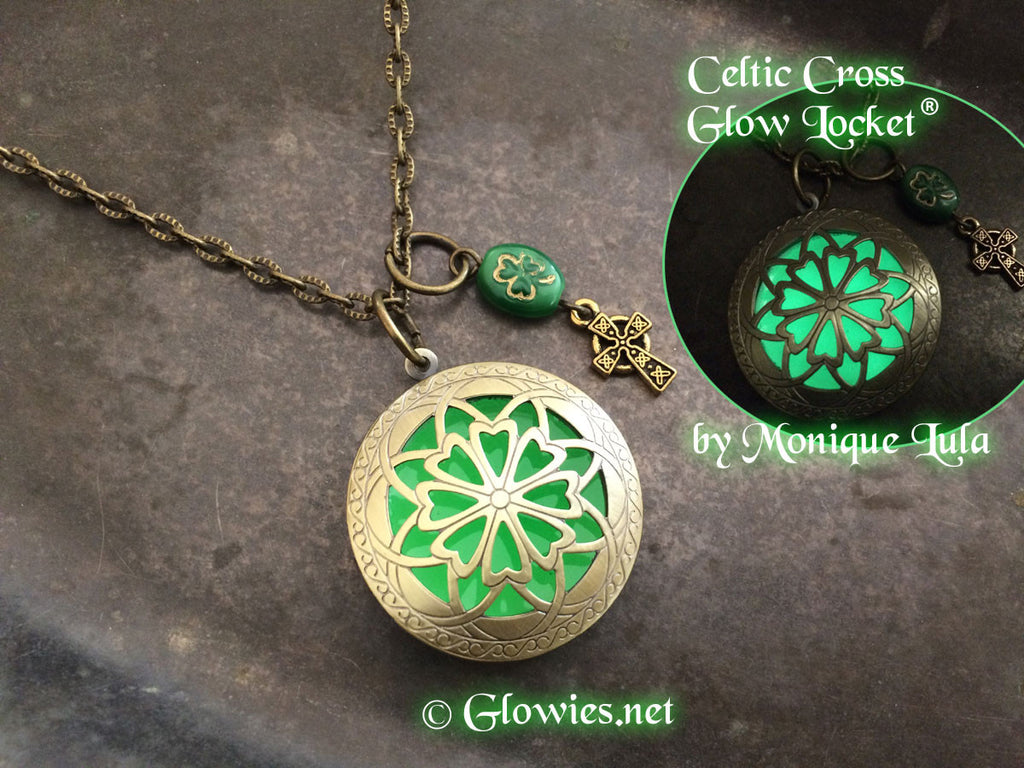 Celtic Cross Shamrock Green Glow Locket ®
