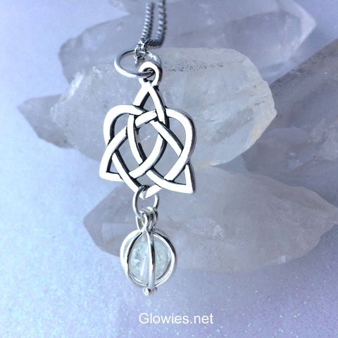 Celtic Heart Glowing Orb Necklace