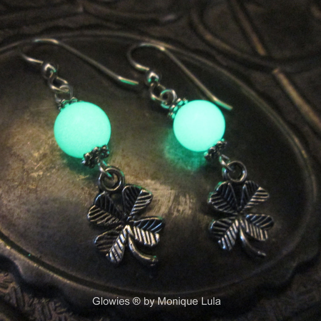 Lucky Clover Glow Glass Earrings with Sterling Silver Hooks