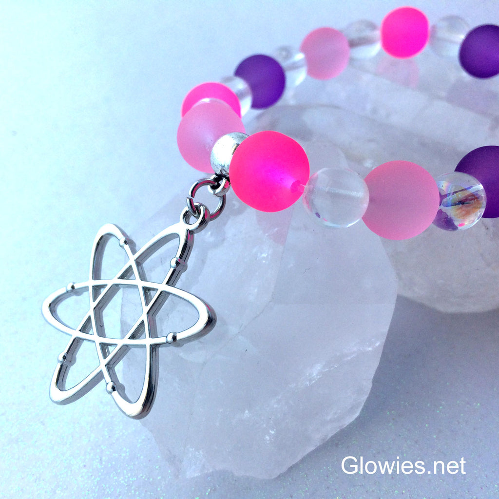 Cosmic Atomic Glow Glass Beaded Bracelet