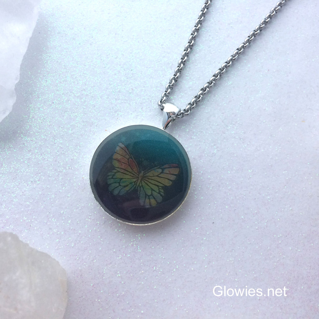 Cosmic Butterfly Glow Art Necklace