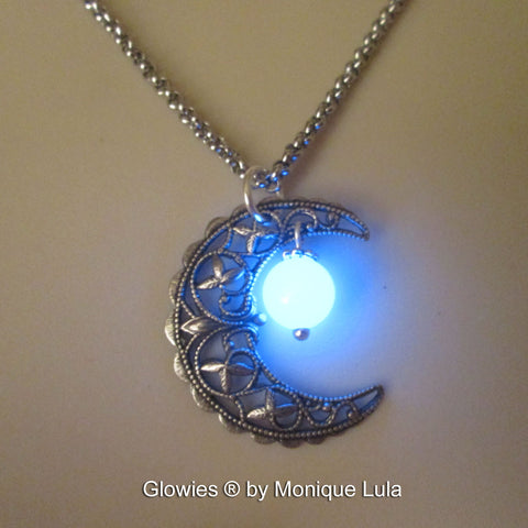 Vintage Crescent Moon Glowing Orb Necklace