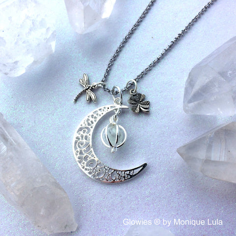Lucky Irish Moon Glowing Dragonfly Shamrock Necklace