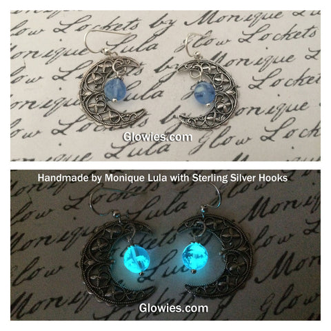 Crescent Moon Earrings with Glowing Orb