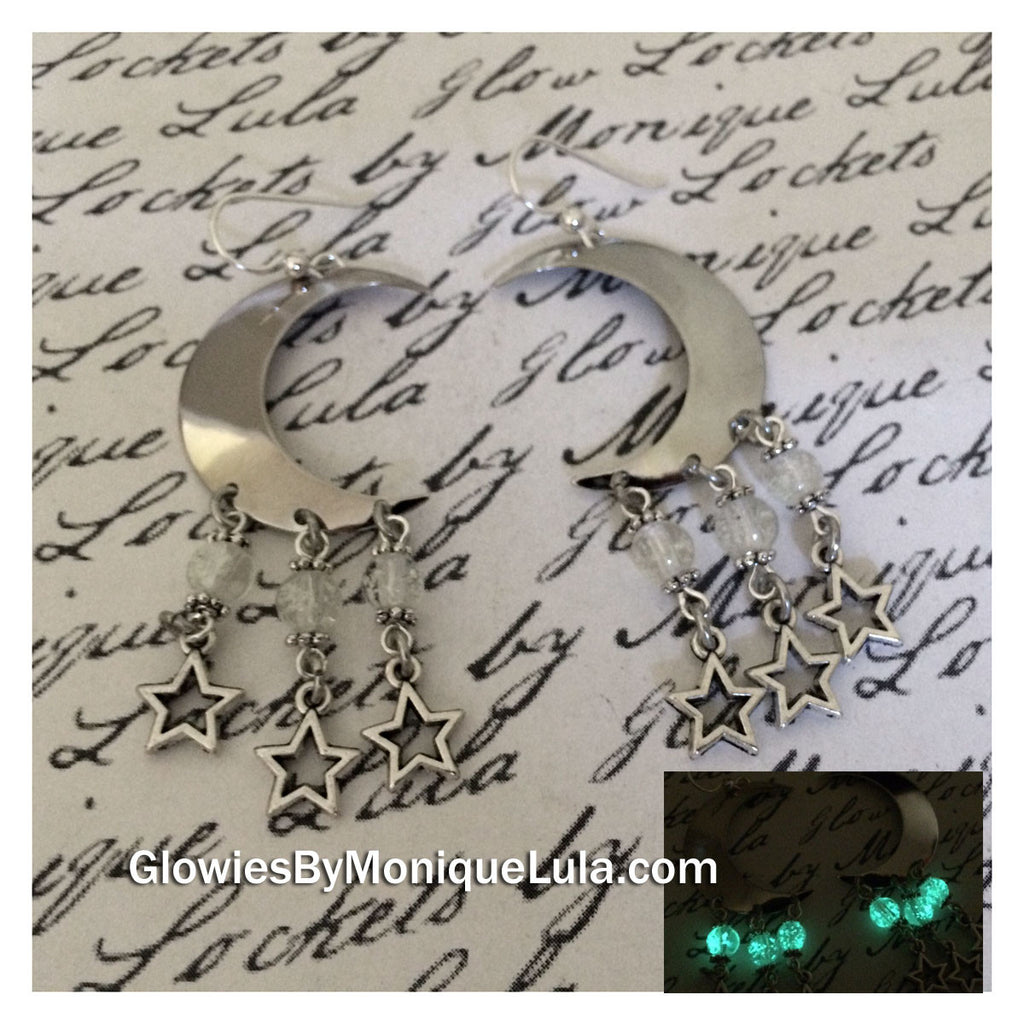 Crescent Moon & Stars Galaxy Earrings
