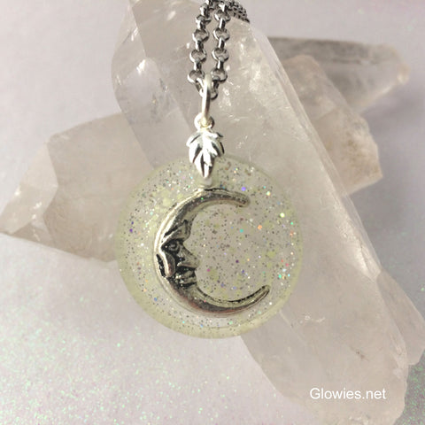 Crescent Moon Night Sky Galaxy Glow Necklace