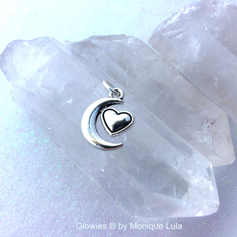 Crescent Moon with Heart Charm