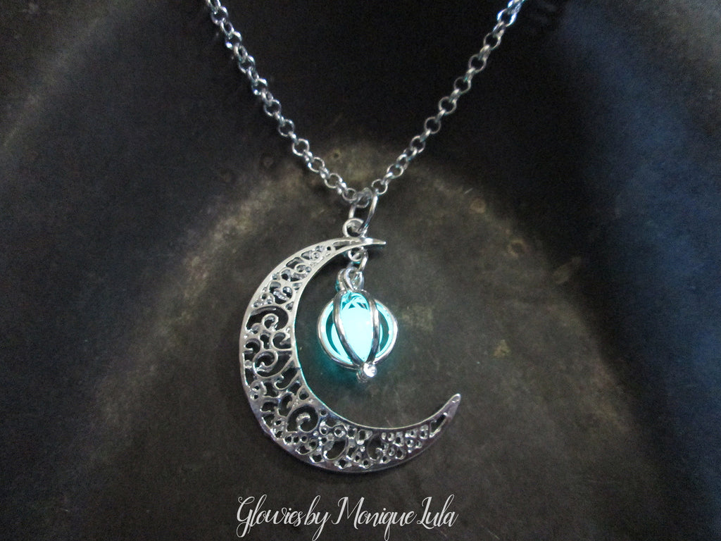 Glowies Glow Jewelry Crescent Moon Glowing Orb Cage Necklace