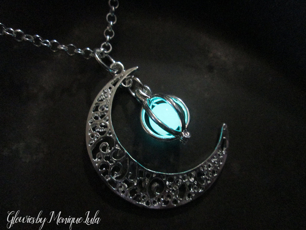 glowies products necklace cage moon glow orb crescent glowing jewelry